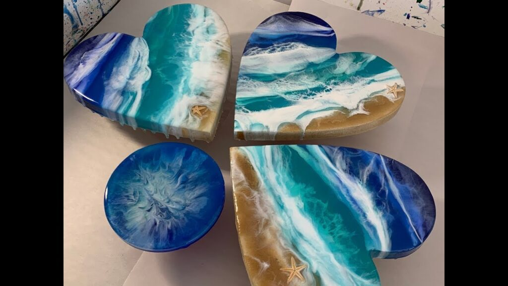 120 – Resin Art – MDF Heart, Real sand, Starfish & 3D Ocean Waves