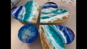 120 - Resin Art - MDF Heart, Real sand, Starfish & 3D Ocean Waves