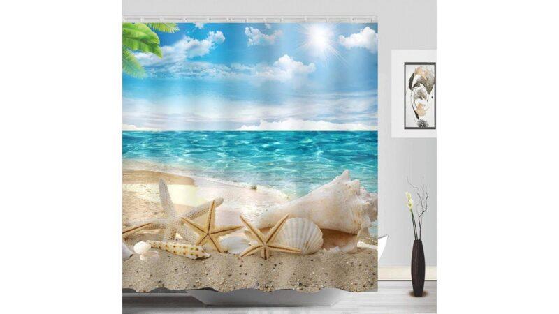 Beach Starfish Shower Curtain Fabric Washable Seashell Bathroom Decor Digital Printed