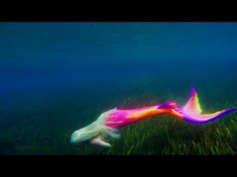 Colorful Vibrant Rainbow Mermaid – Uplifting Footage Of The Graceful Mermaid Melissa Swimming