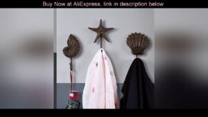 Deal nautical home decor starfish shell conch Resin hook coat bag hat clothes hanger living room be