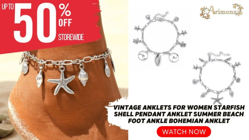 Get These Vintage Anklets for Women Starfish Shell Pendant Summer Beach Foot Ankle Bohemian Anklet