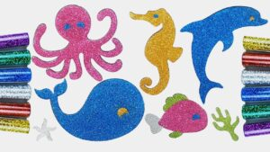 Glitter Sea Animals Stickers~Dolphin~Whale~Octopus~Seahorse~Fish~Starfish for Kids