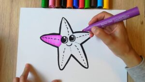HOW TO DRAW a Starfish - coloring with markers
