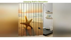 Review Shower Curtain Sea Shell Starfish 3d Print Waterproof Fabric Curtain For Bathroom Decorative