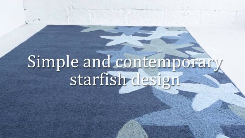 Starfish polyester lagoon blue area rug