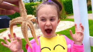 We caught a scary starfish Learn about sea life for kids